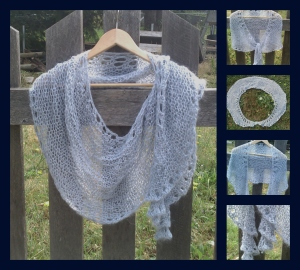 grey knit crescent shawl Collage