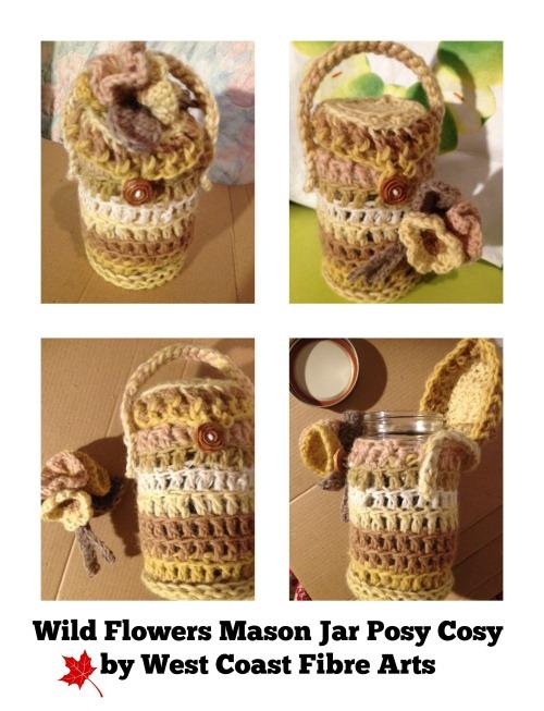 wild flowers mason jar posy cosy